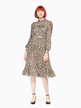 Kate Spade Leopard-print clipped dot midi dress