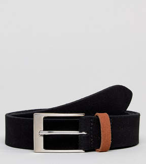 Asos PLUS Smart Slim Suede Belt In Black With Contrast Tan Suede Keeper