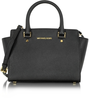 Michael Kors Selma Medium Saffiano Leather Top-Zip Satchel - BLACK - STYLE