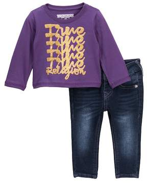 True Religion Long Sleeve Tee & Jeans Set (Baby Girls)
