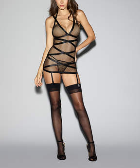 Dreamgirl Black Mesh Criss-Cross Garter Slip & Thong - Women
