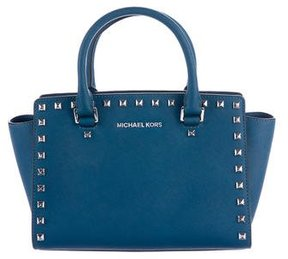 MICHAEL Michael Kors Selma Stud Medium Top Zip Satchel - BLUE - STYLE