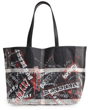 Burberry Sketchbook Mega Check Reversible Canvas Tote - Black - BLACK - STYLE