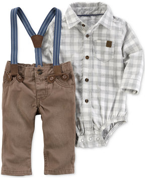 Carter's 3-Pc. Plaid Bodysuit, Suspenders & Pants Set, Baby Boys (0-24 months)
