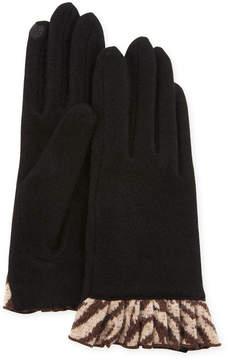 Neiman Marcus Cashmere-Blend Gloves w/Pleats