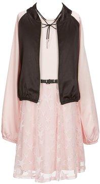 I.N. Girl Big Girls 7-16 Star-Print Dress & Bomber Jacket Set