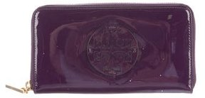 Tory Burch Patent Leather Logo Wallet - PURPLE - STYLE