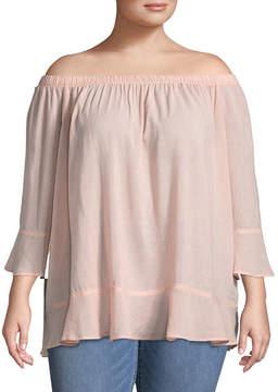 Boutique + + 3/4 Sleeve Woven Blouse - Plus