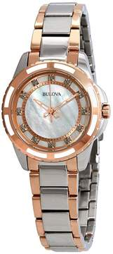 Bulova Diamond White Mother of Pearl Dial Ladies Watch