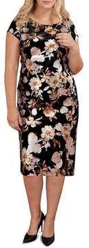 ECI Plus Size Women's Foiled Velvet Burnout Sheath Dress