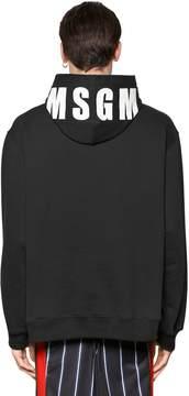 MSGM Printed Logo Hooded Cotton Sweatshirt