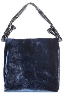 The Row Small Wander velvet and snakeskin shoulder bag