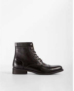 Express black lace-up cap toe brogue