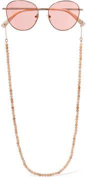 Elizabeth and James Gilmour Round-frame Bead-embellished Rose Gold-tone Sunglasses - Pink