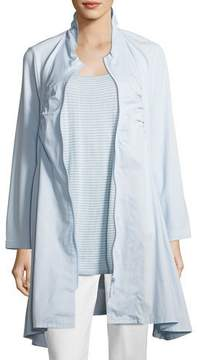 Joan Vass Zip-Front Stretch Knit/Woven Combo Jacket