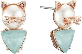 Betsey Johnson Pearl Critters Cat Stud Earrings Earring
