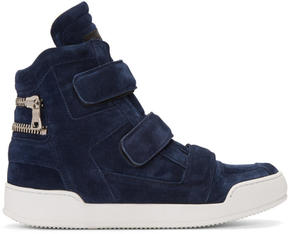 Balmain Navy Suede Velcro High-Top Sneakers