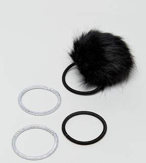 Asos Pack of 4 Faux Fur Pom Hair Tie Set