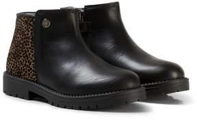 Stuart Weitzman Black Leather Leopard Guepardo Zip Boots