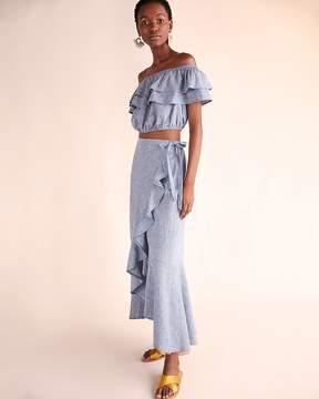 Express Chambray Ruffle Wrap Maxi Skirt