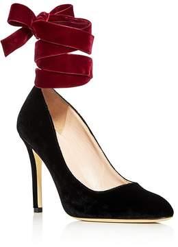 Sarah Jessica Parker Ania Velvet Ankle Tie Pumps