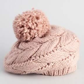 World Market Blush Cable Knit Pom Beret