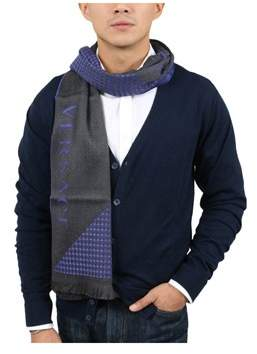 Versace Vhb0125 004 Neat Pattern Purple 100% Wool Mens' Scarf.