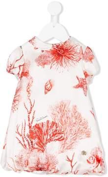 Roberto Cavalli coral print shortsleeved dress
