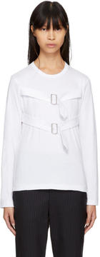 Comme des Garcons White Long Sleeve Double-Buckle T-Shirt