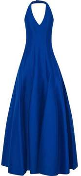 Halston Fluted Cotton And Silk-Blend Halterneck Gown