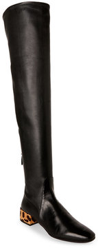 Francesco Russo Black & Leopard Leather Over The Knee Boots