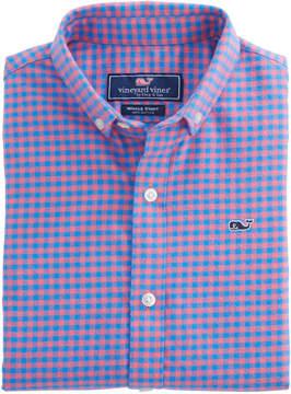 Vineyard Vines Boys Gorda Cay Gingham Flannel Whale Shirt