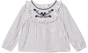 Cyrillus White With Navy Stripe Long Sleeve Blouse