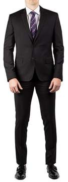 Luciano Barbera Club Men's Slim Fit Wool Two Button Suit Black.