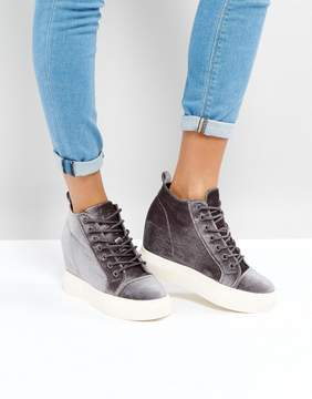 New Look Velvet Lace Up Wedge Sneakers