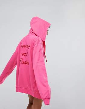 Lazy Oaf Zip Through Hoodie With Snoozing And Losing Back