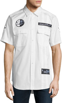 Alexander Wang Button-Down Short-Sleeve Shirt with Patches, White/Black