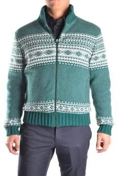 Geospirit Men's White/green Wool Sweater.
