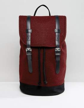 Asos Backpack In Burgundy Melton