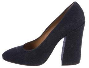 Dries Van Noten Denim Round-Toe Pumps