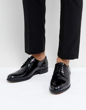Dune Derby Shoes In Hi Shine Black Leather