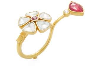 Amrapali Women's 18K Yellow Gold, Ruby & 0.89 Total Ct. Diamond Lotus Flower Ring