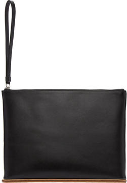 Building Block Black Leather Large Pouch