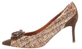 Moschino Tweed Embellished Pumps