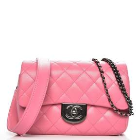 Chanel Carry Waist Chain Double Flap Quilted Diamond Shiny Small Pink