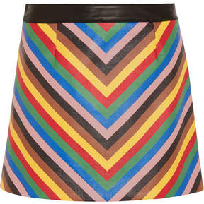 Sara Battaglia Rainbow Striped Leather Mini Skirt - Blue