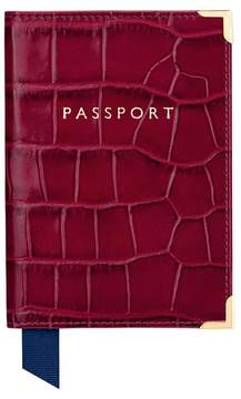Aspinal of London Passport Cover In Deep Shine Bordeaux Croc