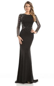Johnathan Kayne 7046 Sparkling Long Sleeved Open Back Gown