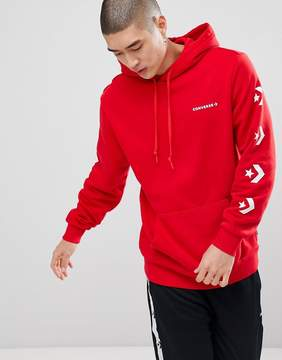 Converse Pullover Hoodie With Sleeve Print In Red 10006433-A04