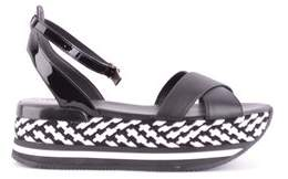 Hogan Women's Black Leather Sandals.